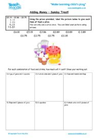 Worksheets for kids - adding_money_-_sunday_treat