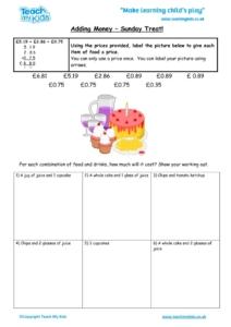 Worksheets for kids - adding_money_-_sunday_treat