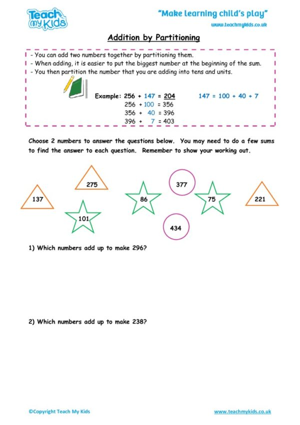 Worksheets for kids - addition by partitioning