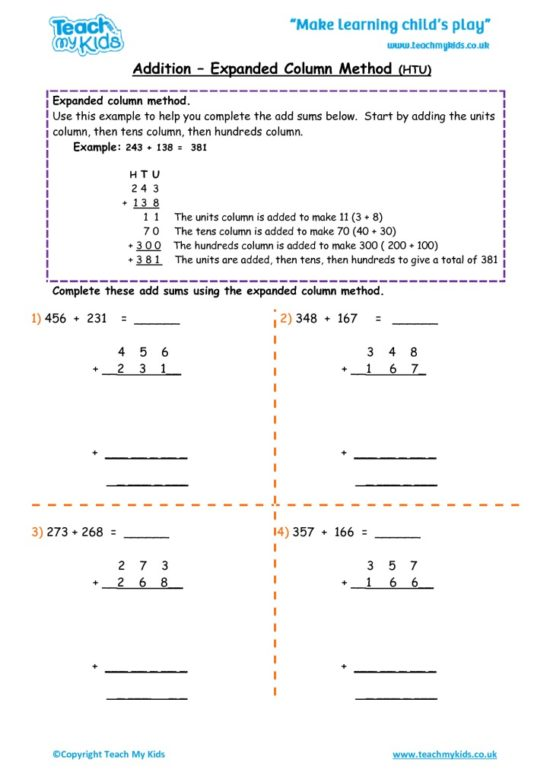 Worksheets for kids - addition – expanded column method HTU