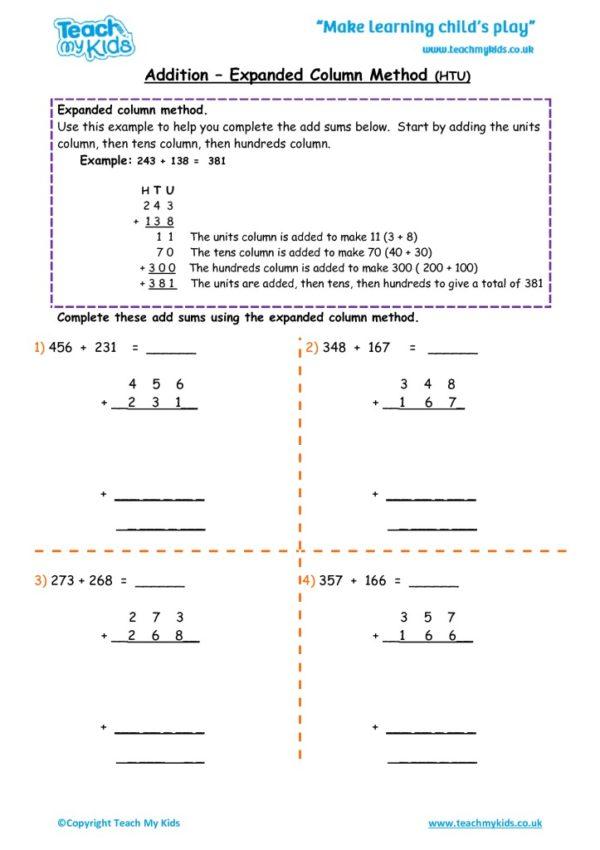 Worksheets for kids - addition – expanded column method HTU