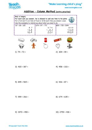 Worksheets for kids - addition,_column_method_extra_practise