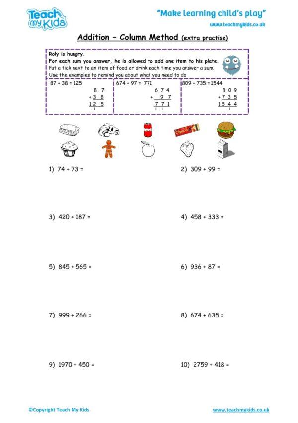Worksheets for kids - addition,_column_method_extra_practise