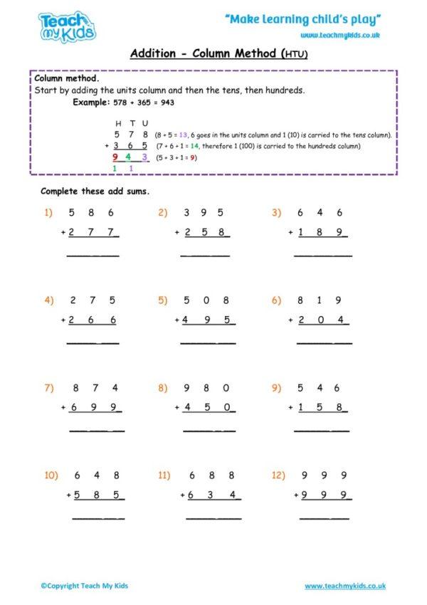 Worksheets for kids - addition,_column_method_htu