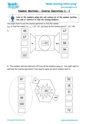 Worksheets for kids - number-machines-inverse-operations-+-