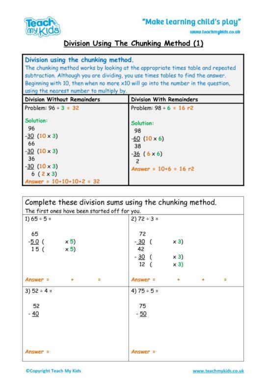 Worksheets for kids - division-chunking-tu