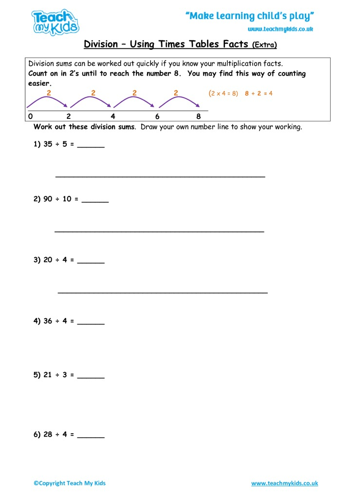 Division Using Times Tables Facts extra practise TMK Education – Division Tables Worksheets