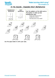 Worksheets for kids - at_the_seaside_-_expanded_short_multiplication_1