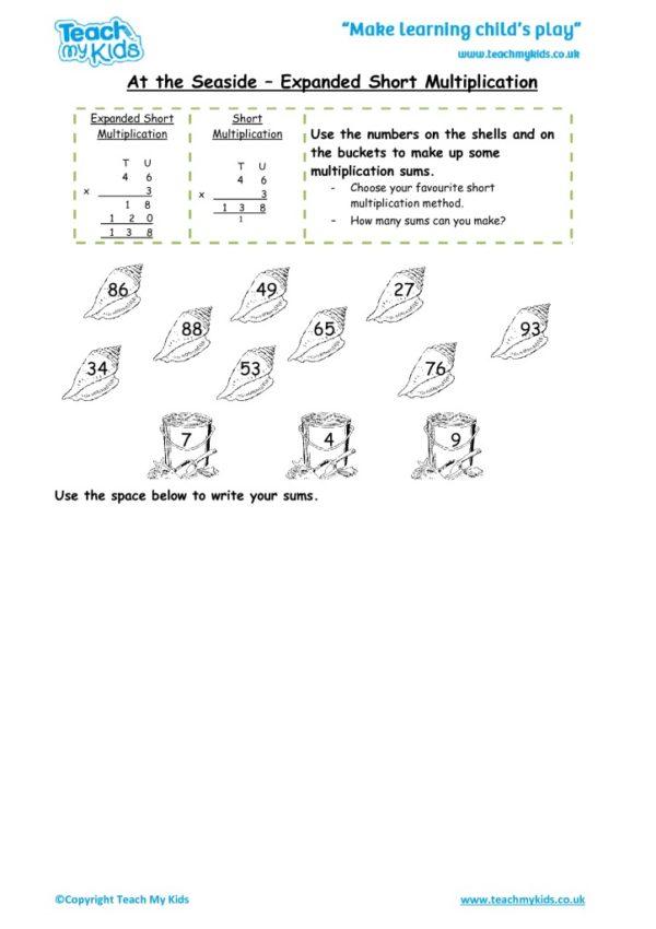 Worksheets for kids - at_the_seaside_-_expanded_short_multiplication_1