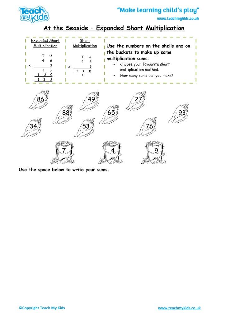 Calculations Mental and Written Methods 79 Years TMK Education – Multiplication Column Method Worksheet