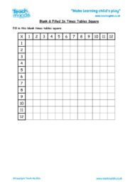 Worksheets for kids - blank-xtables-square-12x