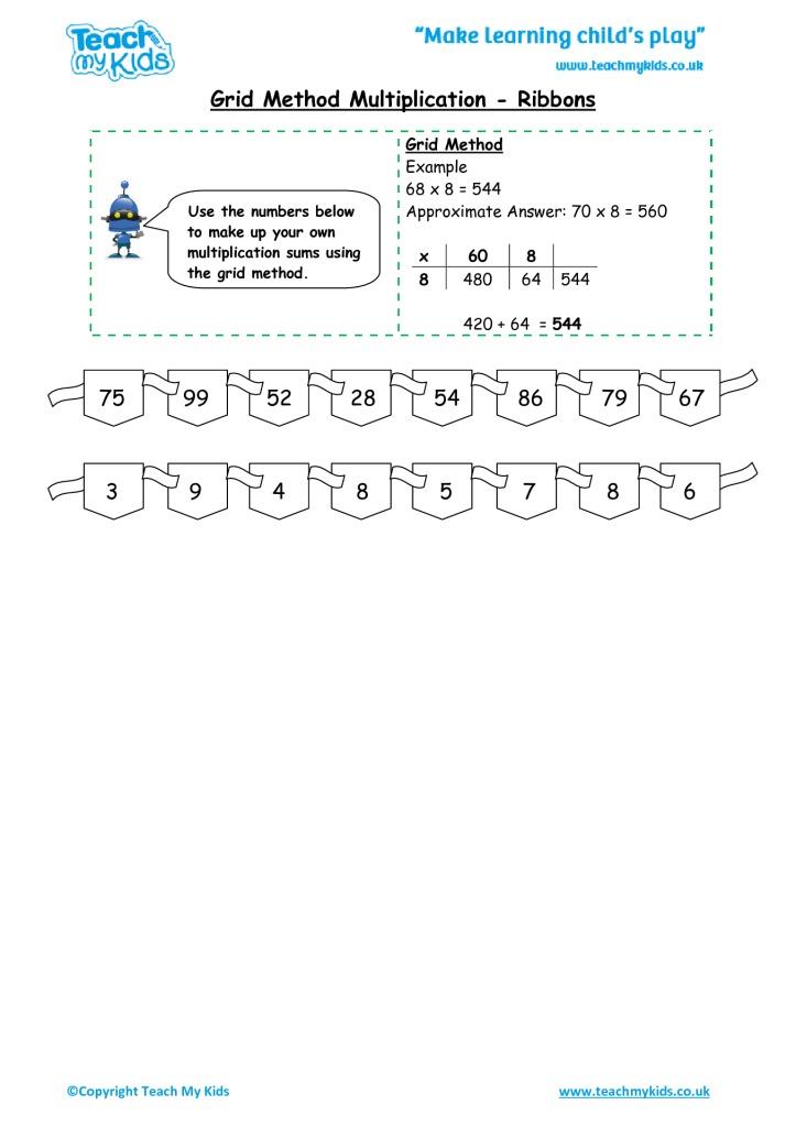 Grid Method Multiplication Ribbons Tmk Education