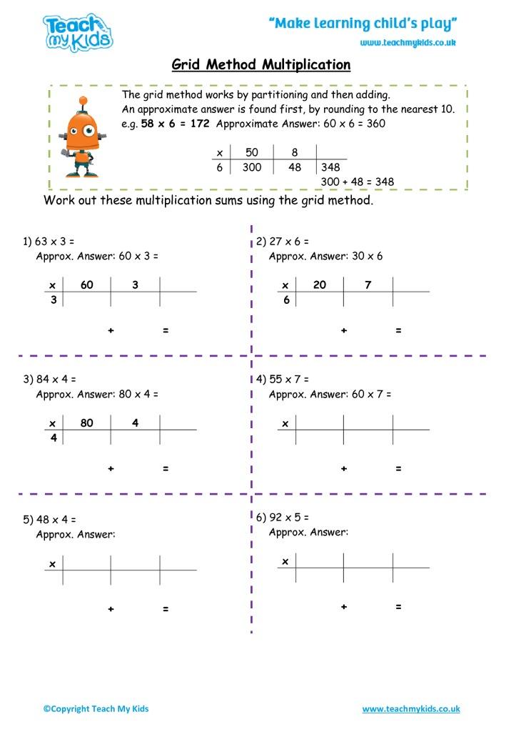 grid method multiplication tmk education. Black Bedroom Furniture Sets. Home Design Ideas