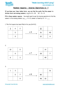 Worksheets for kids - number-squares-inverse-operations-times-divide