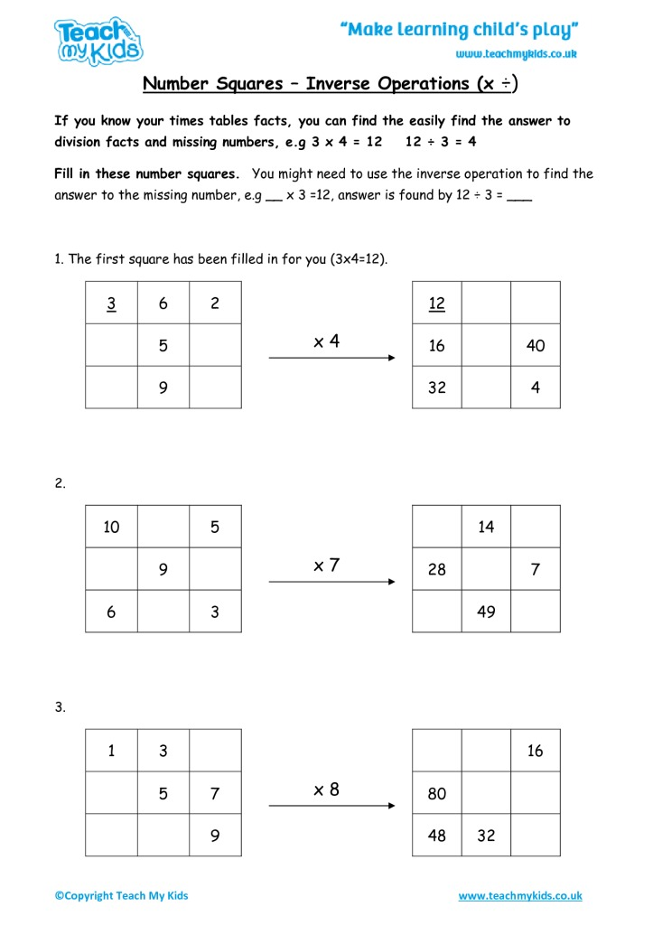 Number Squares - Inverse Operations (x ÷) - TMK Education