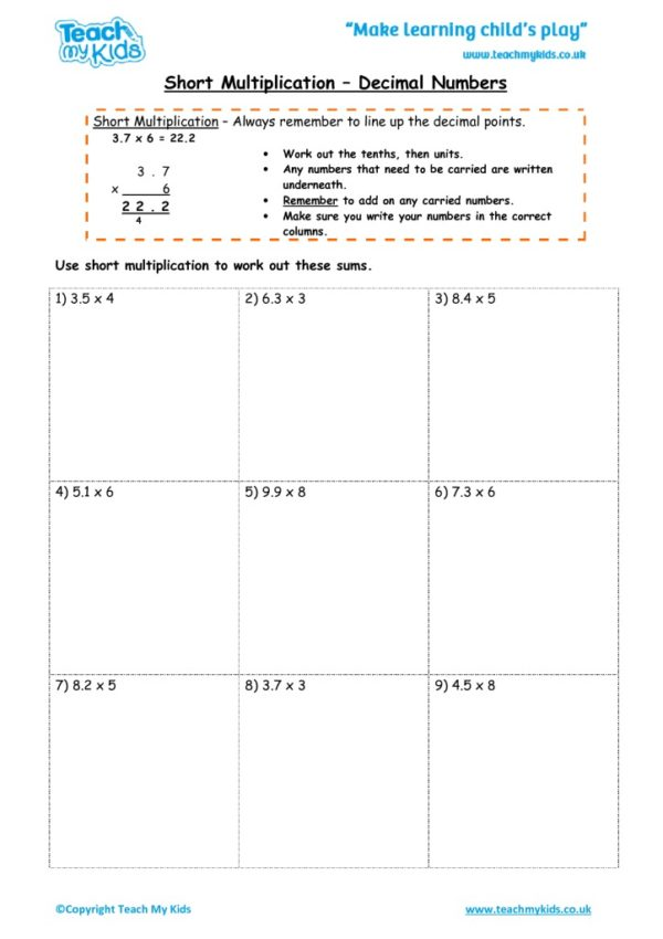 Worksheets for kids - short_multiplication_-_decimal_numbers