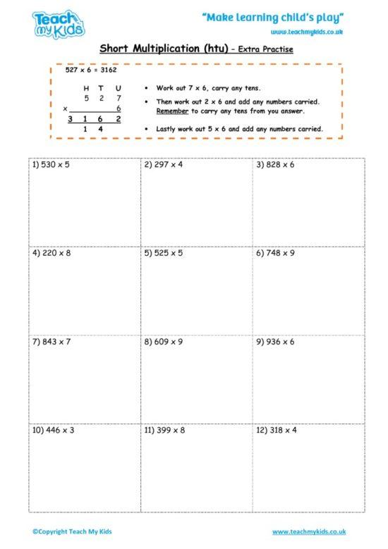 Worksheets for kids - short_multiplication_-_htu_extra