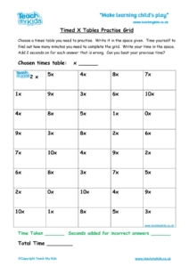 Worksheets for kids - timed-x-tables-practise-grid1