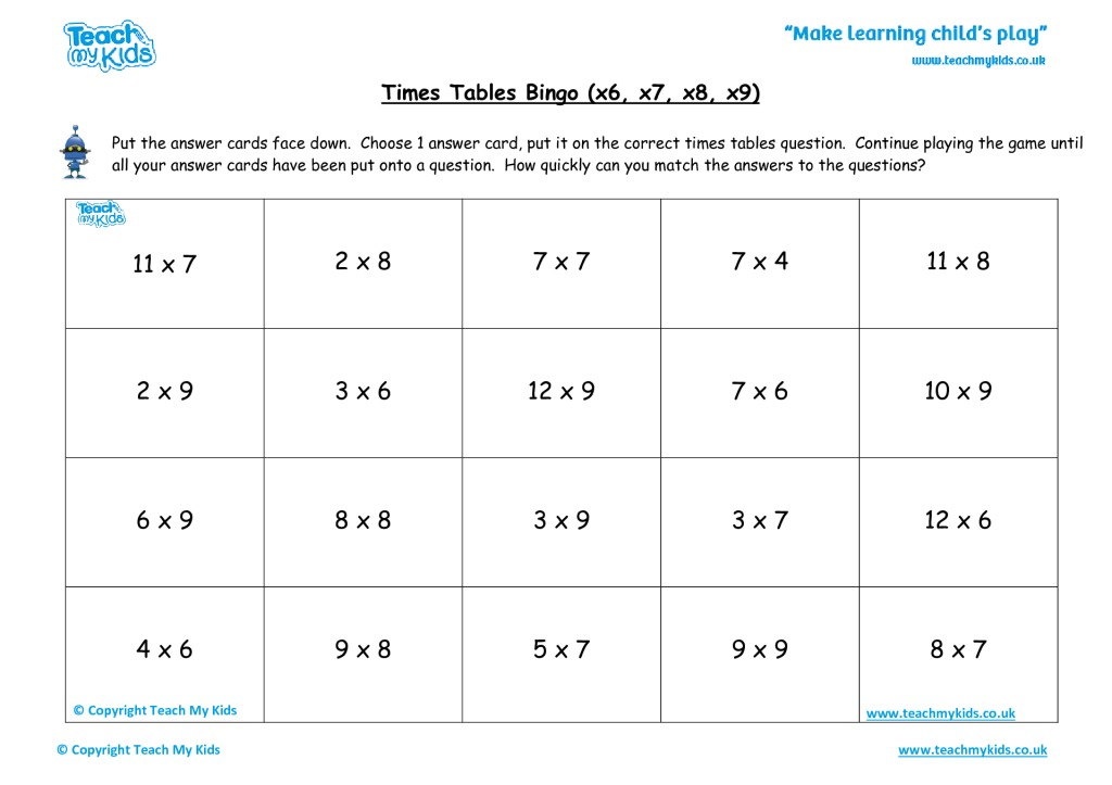 Times Tables Bingo Hard X6 X7 X8 X9 Tmk Education. Times Tables Bingo Hard X6 X7 X8 X9. Worksheet. X9 Tables Worksheet At Clickcart.co