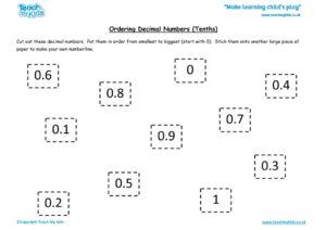 Worksheets for kids - ordering-decimal-nos-tenths