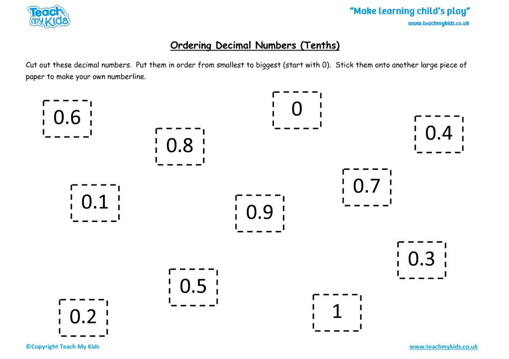 ordering decimal numbers  tenths  tmk education worksheets for kids  orderingdecimalnostenths
