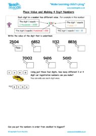Worksheets for kids - place-value-and-making-4-digit-numbers