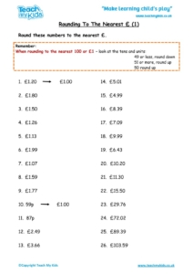 Worksheets for kids - rounding-to-nearest-£