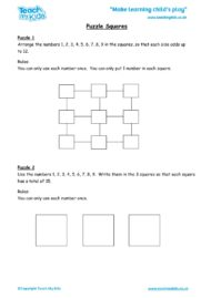Worksheets for kids - puzzle-squares
