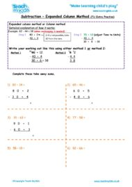 Worksheets for kids - subtraction -column expanded 2 extra
