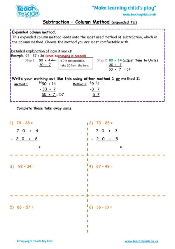Worksheets for kids - subtraction -column expandedtu
