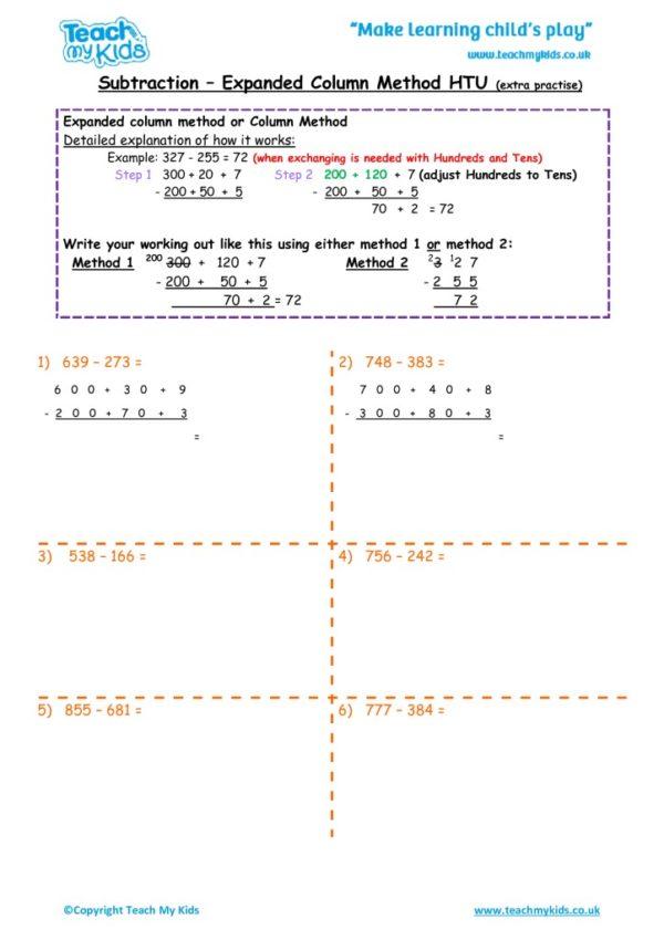 Worksheets for kids - subtraction_-column_expanded_htu_extra_practise
