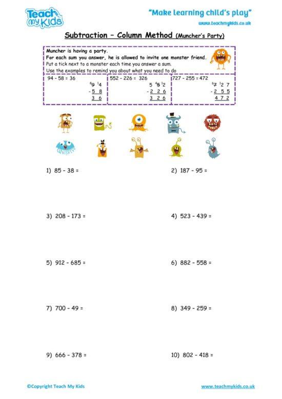 Worksheets for kids - subtraction_-column_method,munchers_party