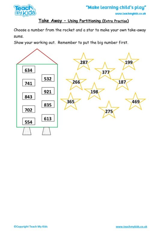 Worksheets for kids - take-away-using-partitioning-_extra-practise_
