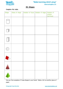 Worksheets for kids - 3d-shapes