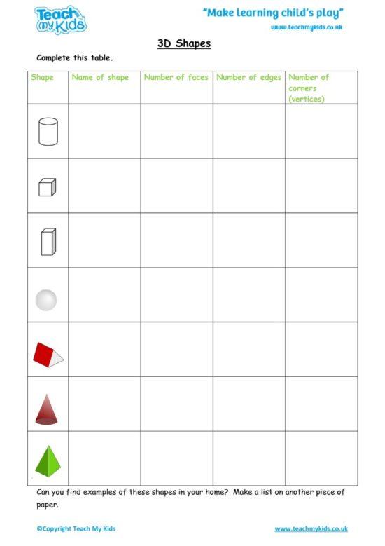 Worksheets for kids - 3d-shapes