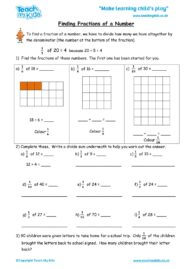Worksheets for kids - finding fractions of a number