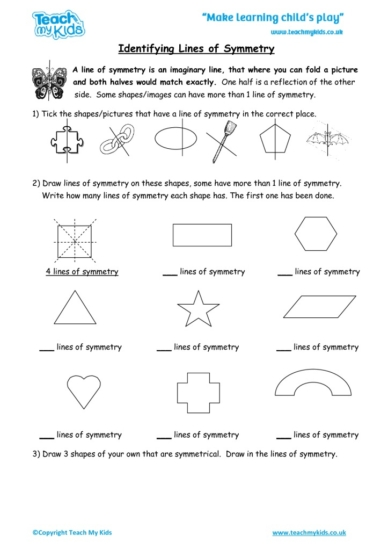 Worksheets for kids - identifying_lines_of_symmetry