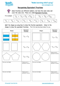 Worksheets for kids - recognising equivalent fractions