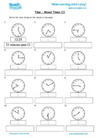 Worksheets for kids - time-mixed-times-1