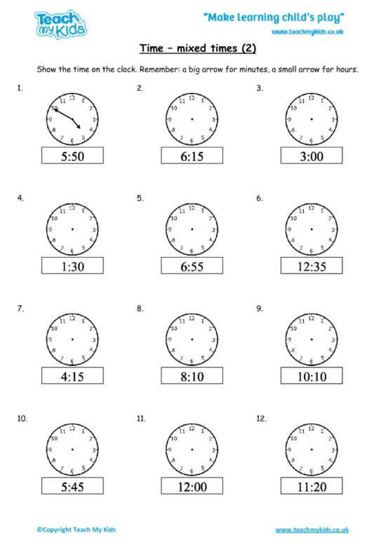 Worksheets for kids - time-mixed-times-2