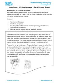 Worksheets for kids - Using-report-writing-language-re-writing-a-report