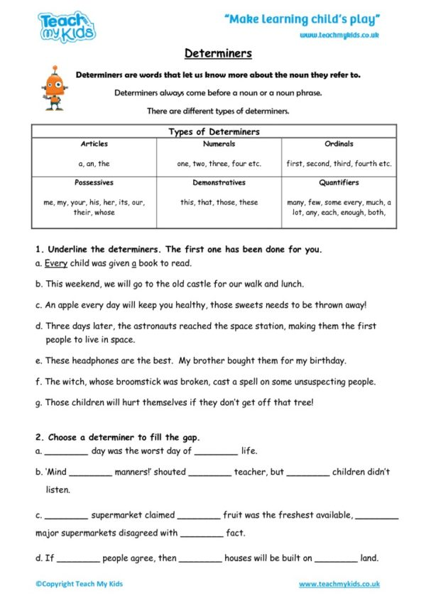 Worksheets for kids - determiners