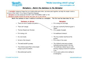 Worksheets for kids - metaphors-match-the-sentence-to-the-metaphor