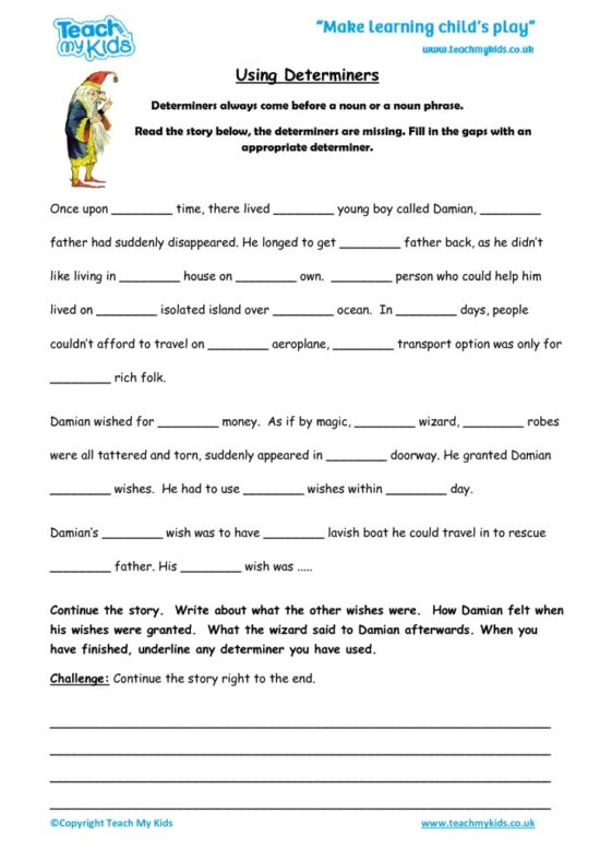 Worksheets for kids - using_determiners