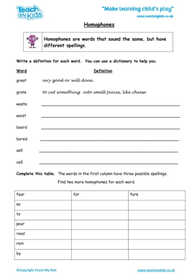 Worksheets for kids - homophones