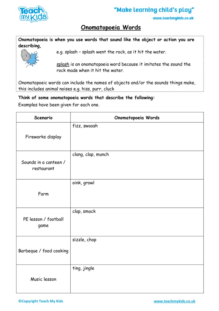 Onomatopoeia Words - TMK Education