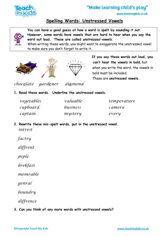 Worksheets for kids - spelling_words,_unstressed_vowels_4