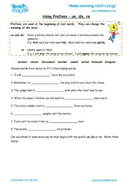 Worksheets for kids - using-prefixes-un-dis-re