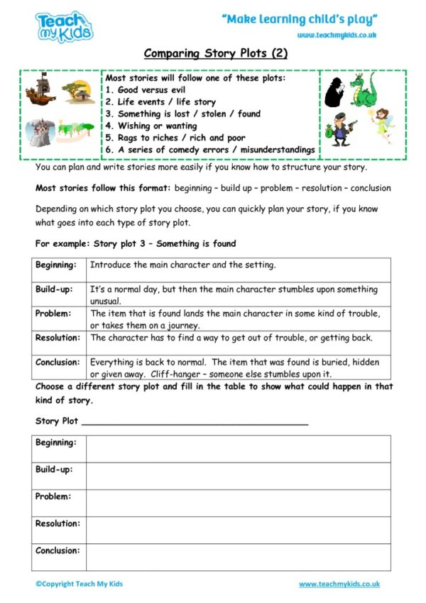 Worksheets for kids - comparing_story_plots_2