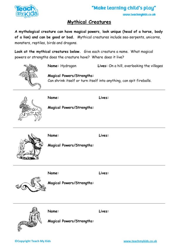 Worksheets for kids - mythical-creatures